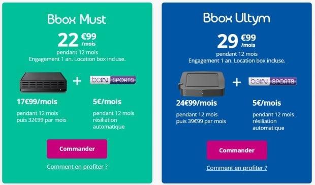 BeIN Sports en promo avec une box Internet Bouygues