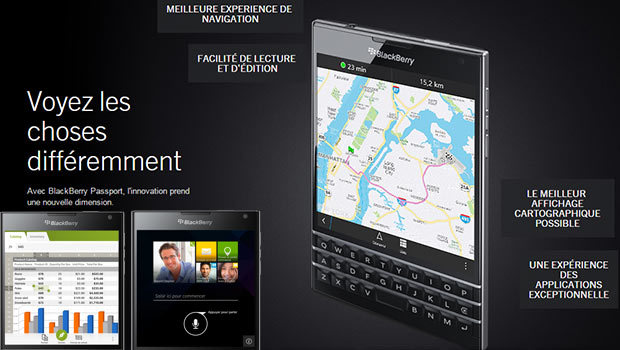 BlackBerry Passport plus 30% d'affichage par rapport à un Smartphone 'normal'