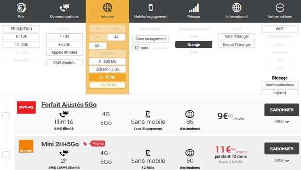 Comparez les forfaits mobile sur le réseau 4G Orange