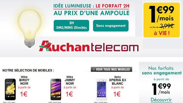 Auchan Telecom : l'entrée de gamme à 1,99 euros