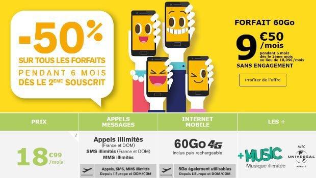 La Poste Mobile -50% pendant 6 mois 2ème forfait