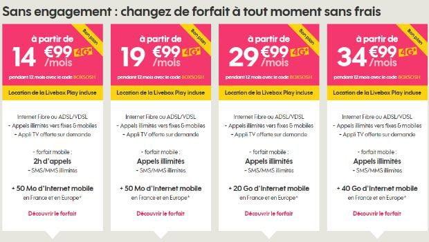 Sosh Mobile+ Livebox Fibre à partir de 14,99€/mois