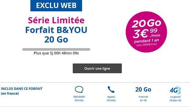 B&You, sans engagement, 20Go à 3,99 euros