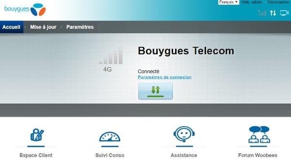 L'interface de gestion de la 4G Box Bouygues