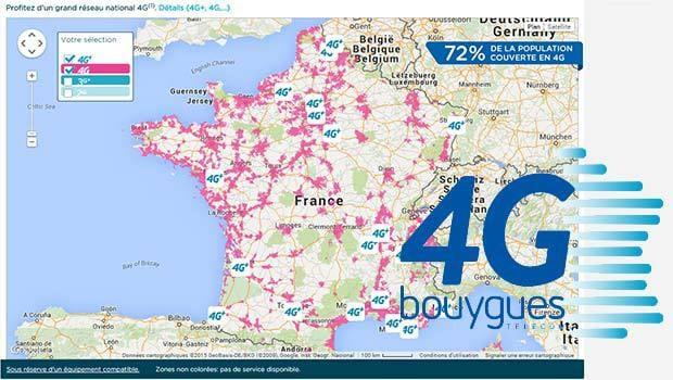 La 4G bien couverte pas Bouygues en France, à 72% de la population