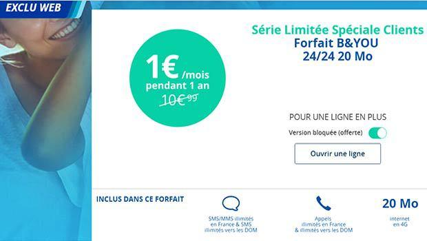 Le B&You 20Mo, appels, sms, mms illimités à 1 euro