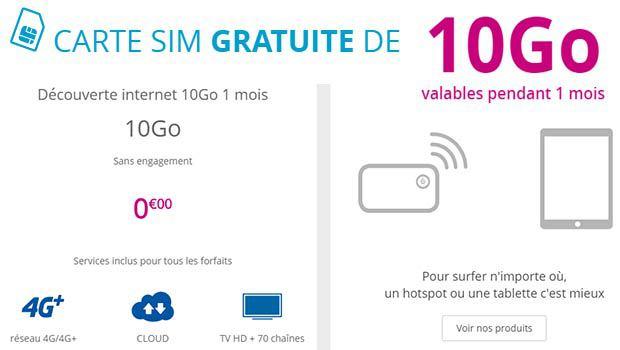 Une carte SIM avec 1 mois et 10 Go gratuits