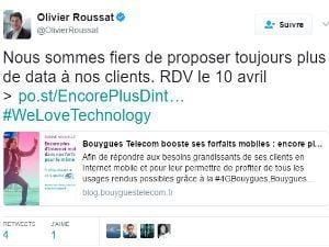 Olivier Roussat, PDG de Bouygues Telecom fait la promo du boost data