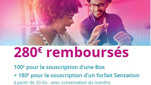 Jusqu'à 280€ d'offerts avec une box et un Sensation 20Go et plus