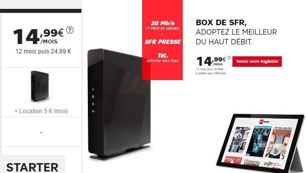 Box de SFR en ADSL, 2P, à moins de 20€/mois la première année
