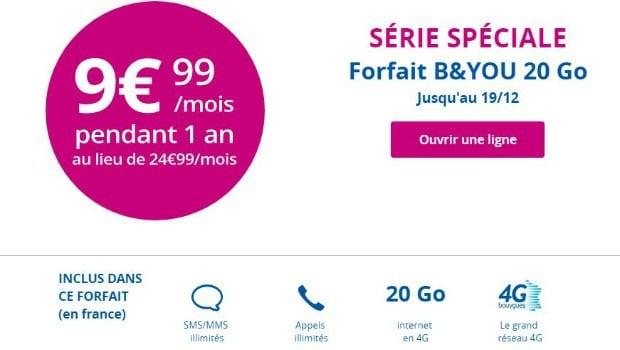 Le forfait B&You 20 Go en promo à 9,99€/mois