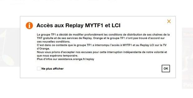 TF1 suspend le replay sur Orange
