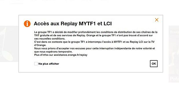 TF1 suspend le replay sur Orange