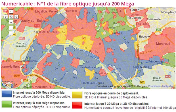 200 Mega : carte Numericable de Paris