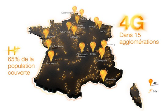 Carte de couverture 4G d'Orange