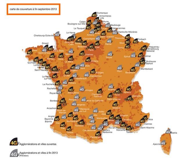 Carte de déploiement 4G d'Orange en septembre 2013