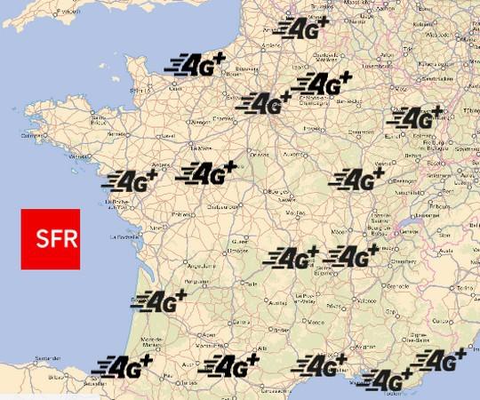 Carte de couverture 4G+ de SFR