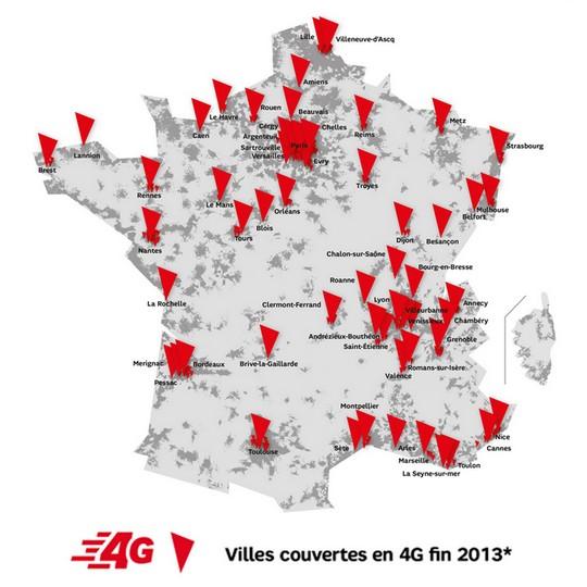 Couverture 4G de SFR au 1er novembre 2013
