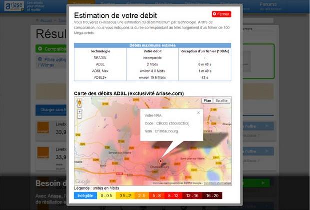 cartes des débits ADSL