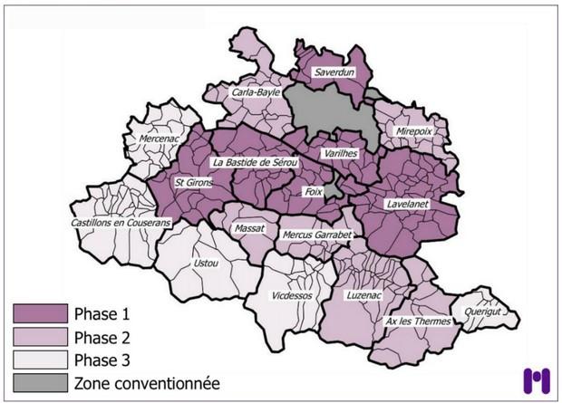 carte prévisionnelle de la fibre en Ariège