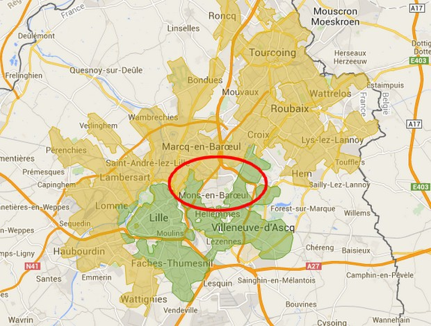 carte fibre optique de Numericable de la communauté urbaine de lille