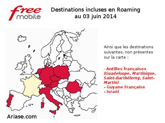 carte des destinations incluses en roaming chez free mobile