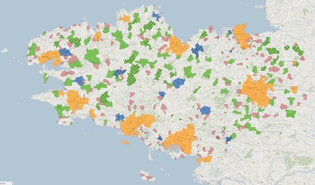 Carte du déploiement de la fibre optique en Bretagne