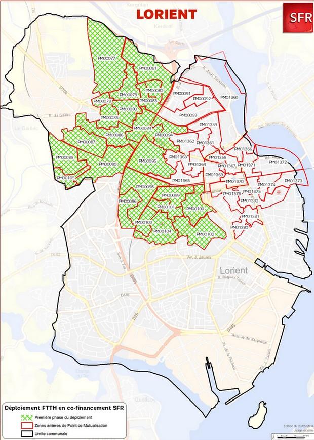 Carte de déploiement de la fibre optique de SFR à Lorient