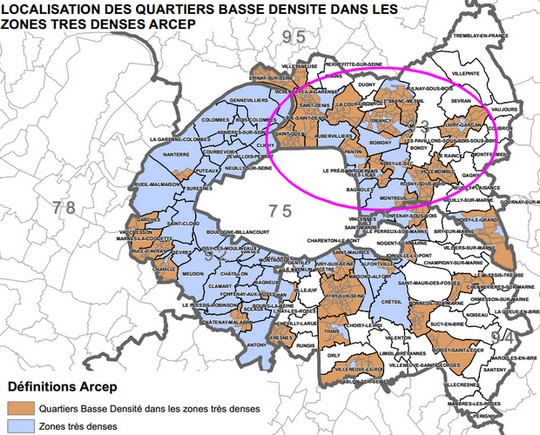 carte ARCEP zones tres denses ile de france