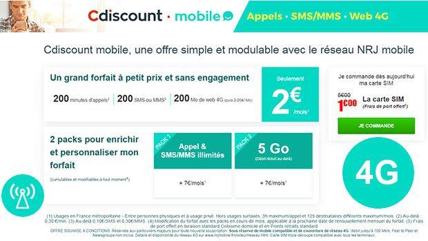 Cdiscount mobile, de 2€ à 16€/mois le forfait