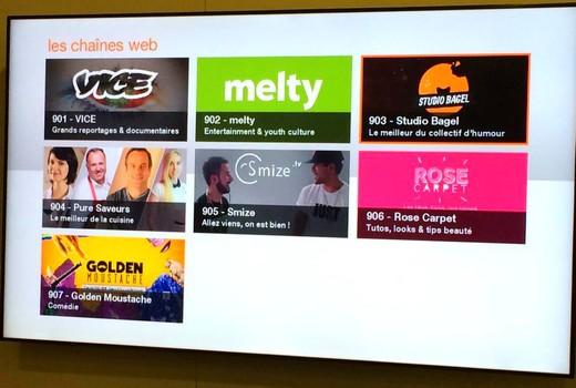 Les chaines Web sur la TV d'Orange