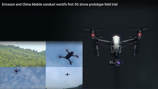 Ericsson 5G en test avec un drone