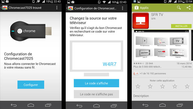 Ici sur le Google Play Store, on retrouve l'application Chromecast