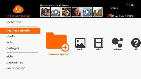Interface du cloud d'Orange sur la TV d'Orange