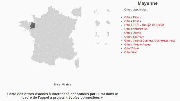 La carte des solutions satellitaires pour connecter les écoles