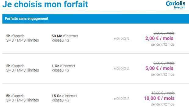 Forfaits mobiles en promotions Coriolis Telecom