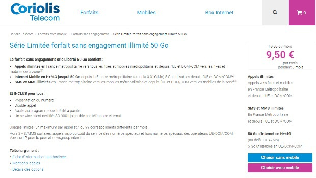 Forfaits mobiles Brio Liberté en promotions Coriolis Telecom