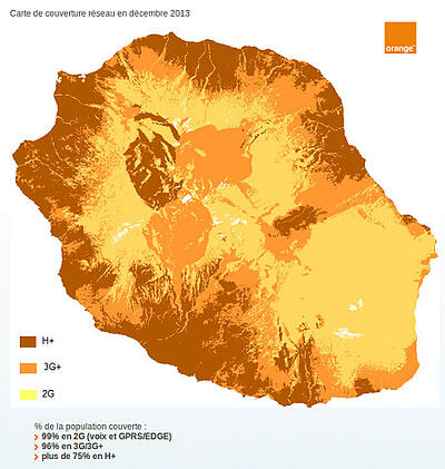 la couverture 3g de la réunion par orange