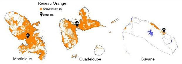 La couverture 4G d'Orange : Martinique, Guadeloupe, Guyane