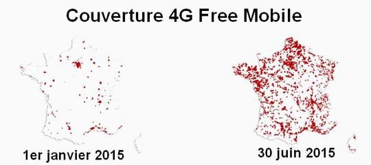 Evolution de la couverture 4G de Free mobile au 1er semestre 2015