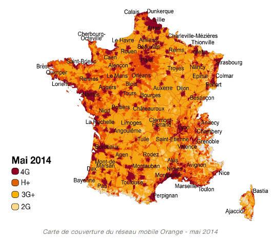 orange couvre 55% de la population en 4G