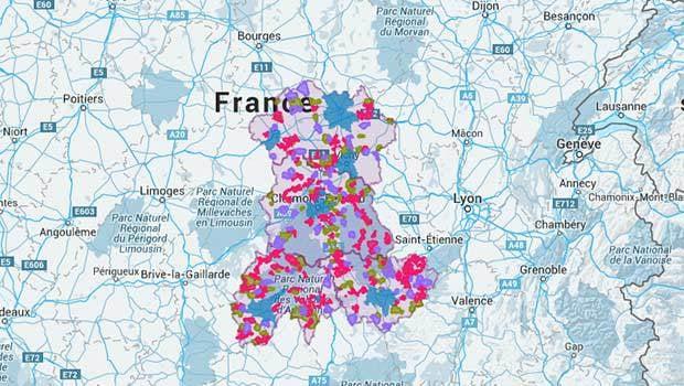 La carte Auvergne Très Haut Débit de la couverture en THD de la région
