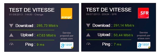 tests de débit Orange et SFR