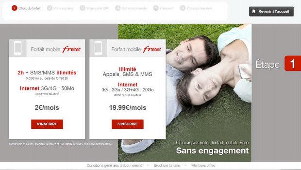 ecran d'accueil de la borne automatique de free mobile