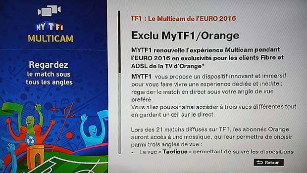 Le Mutlicam pour voir les matches différemment sur la TV d'Orange avec MyTF1