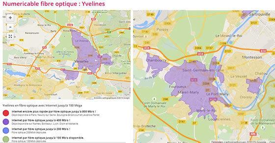 Les zones éligibles fibre 400 Mbit/s SFR dans le 78 : saint germain en laye et versailles