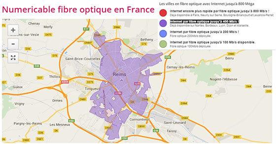 Les zones éligibles fibre 400 Mbit/s SFR à Reims