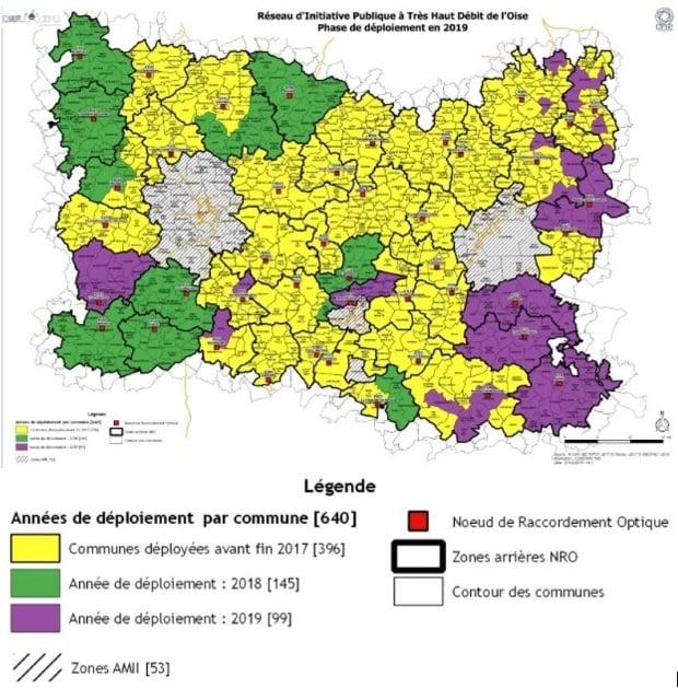 Oise : réseau public fibre optique 2018 - 2019