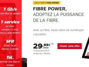 SFR : fibre Power à 29,99€/mois