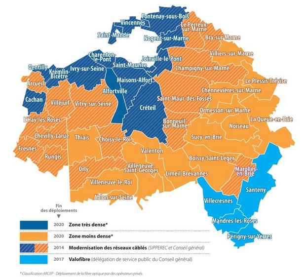 Carte de couverture FTTH dans le Val de Marne